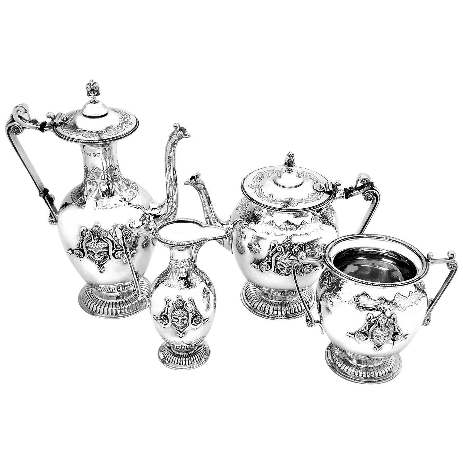 Antique Victorian Silver Four Piece Tea and Coffee Set 1865 Coffee Pot Teapot