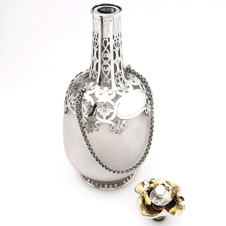 Sterling Silver Antique Victorian Silver and Glass 'Pilgrims Flask' Decanter 1859 Wine Whisky For Sale