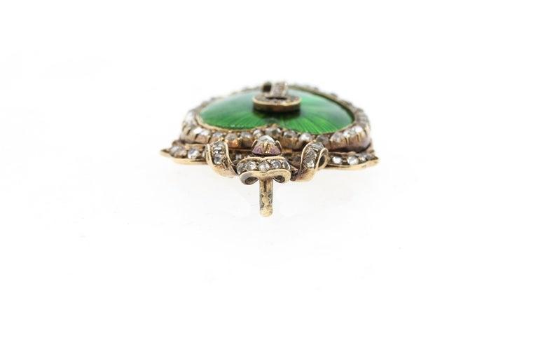 Antique Victorian Silver Gold Diamond Guilloche Green Enamel Heart Pendant 1