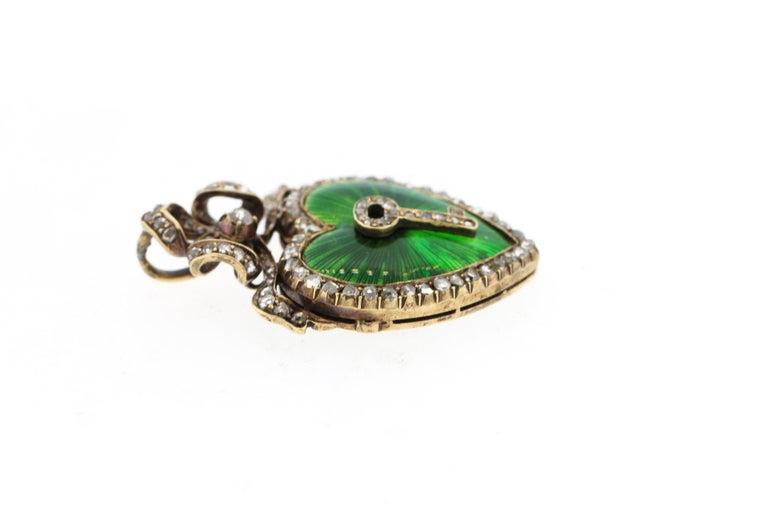 Antique Victorian Silver Gold Diamond Guilloche Green Enamel Heart Pendant 3