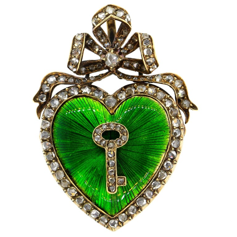 Antique Victorian Silver Gold Diamond Guilloche Green Enamel Heart Pendant