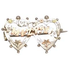 Antique Victorian Silver Gold Double Heart Mizpah Brooch