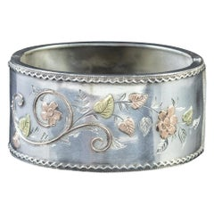 Antique Victorian Silver Gold Forget Me Not Ivy Bangle Dated 1883