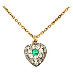 Antique Victorian Silver Gold Old Cut Diamond Emerald Heart Pendant Necklace