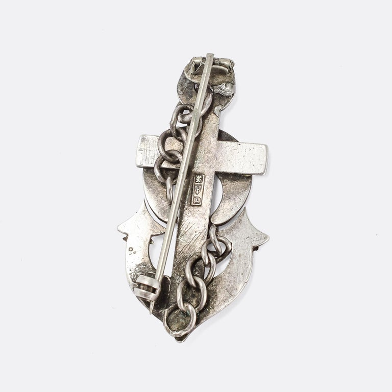 Late Victorian Antique Victorian Silver Hope Anchor Brooch