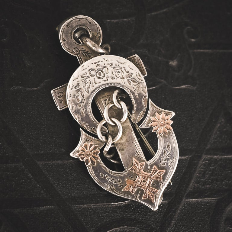 Antique Victorian Silver Hope Anchor Brooch In Good Condition In Sale, Cheshire