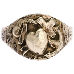 """Antique Victorian Silver """"Hope Faith & Charity"""" Signet Ring"""
