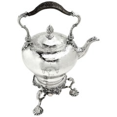 Antique Victorian Sterling Silver Kettle on Stand Burner 1851 Teapot