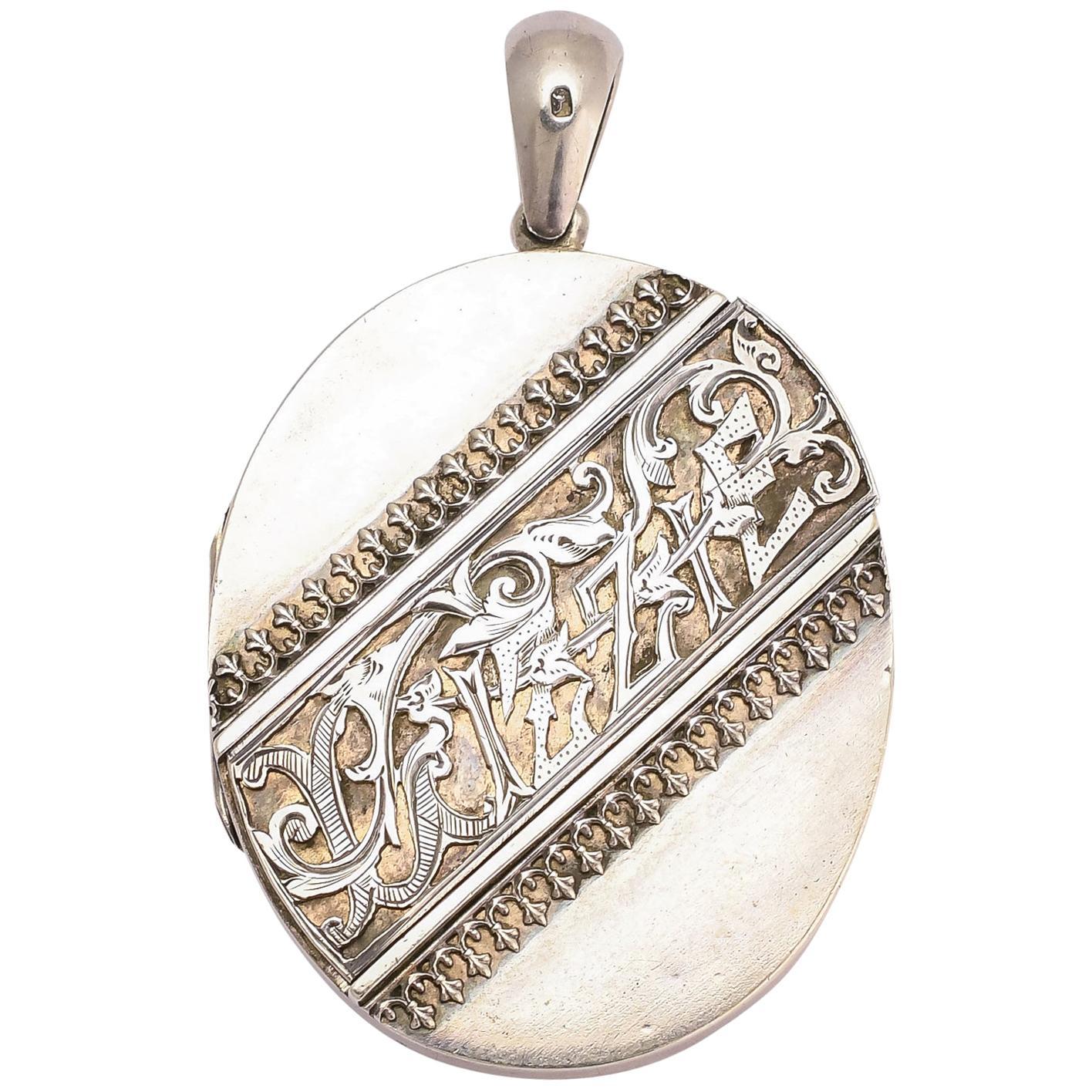 """Antique Victorian Silver """"Lizzie"""" Locket"""