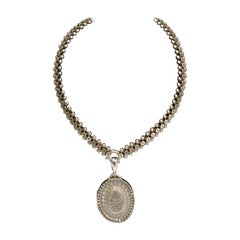 Antique Victorian Silver Locket and Chain, G Loveridge & Co, Birmingham, 1883