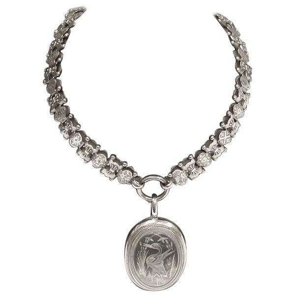 Antique Victorian Silver Locket and Collar, circa 1880