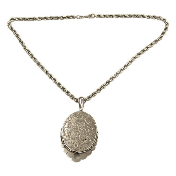 Antique Victorian Silver Locket Dated circa 1880 on Later Silver Rope Chain