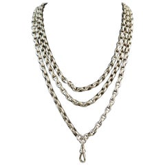 Antique Victorian Silver Long Chain, Oval Links, Swivel Clip, circa 1890s