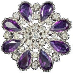 Antique Victorian Silver Paste Amethyst Brooch, circa 1900