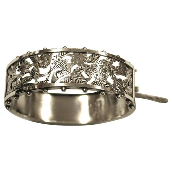 Antique Victorian Silver Pierced and Engraved Bangle, 1884, Birmingham
