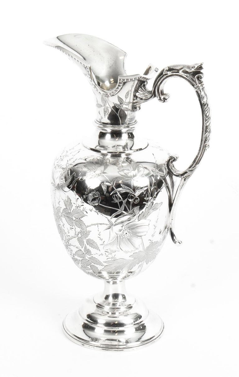 Antique Victorian Silver Plate Claret Jug by Atkin Brothers, 19th Century For Sale 8