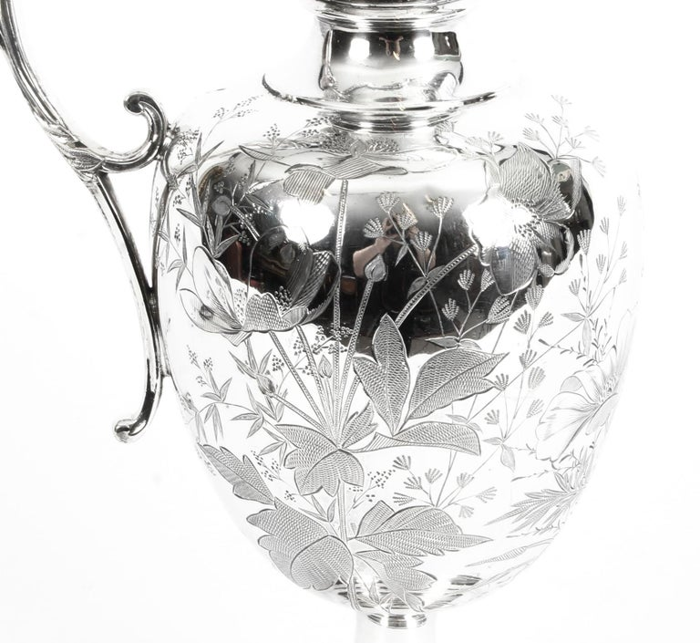 English Antique Victorian Silver Plate Claret Jug by Atkin Brothers, 19th Century For Sale