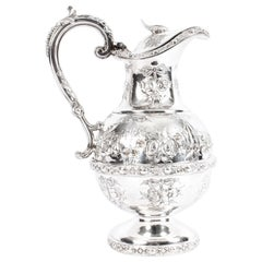 Antique Victorian Silver Plate Claret Jug by Martin Hall, 19th Century