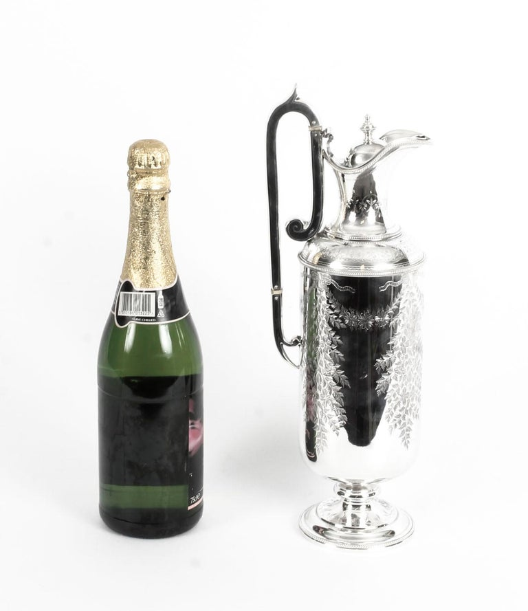 Antique Victorian Silver Plate Claret Jug by Martin Hall & Co., 19th Century For Sale 10