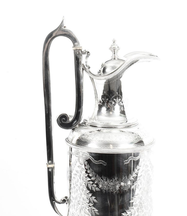Antique Victorian Silver Plate Claret Jug by Martin Hall & Co., 19th Century For Sale 1