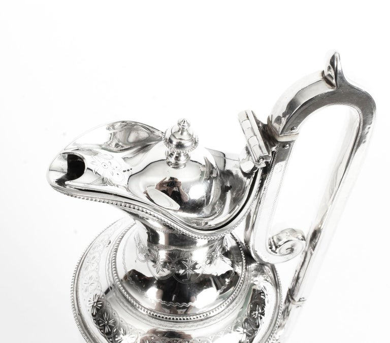 Antique Victorian Silver Plate Claret Jug by Martin Hall & Co., 19th Century For Sale 3