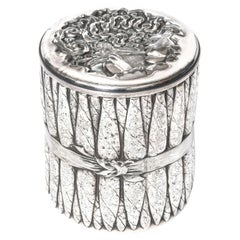 Antique Victorian Silver Plate Figural Cigar Humidor Jar Box by James W. Tufts