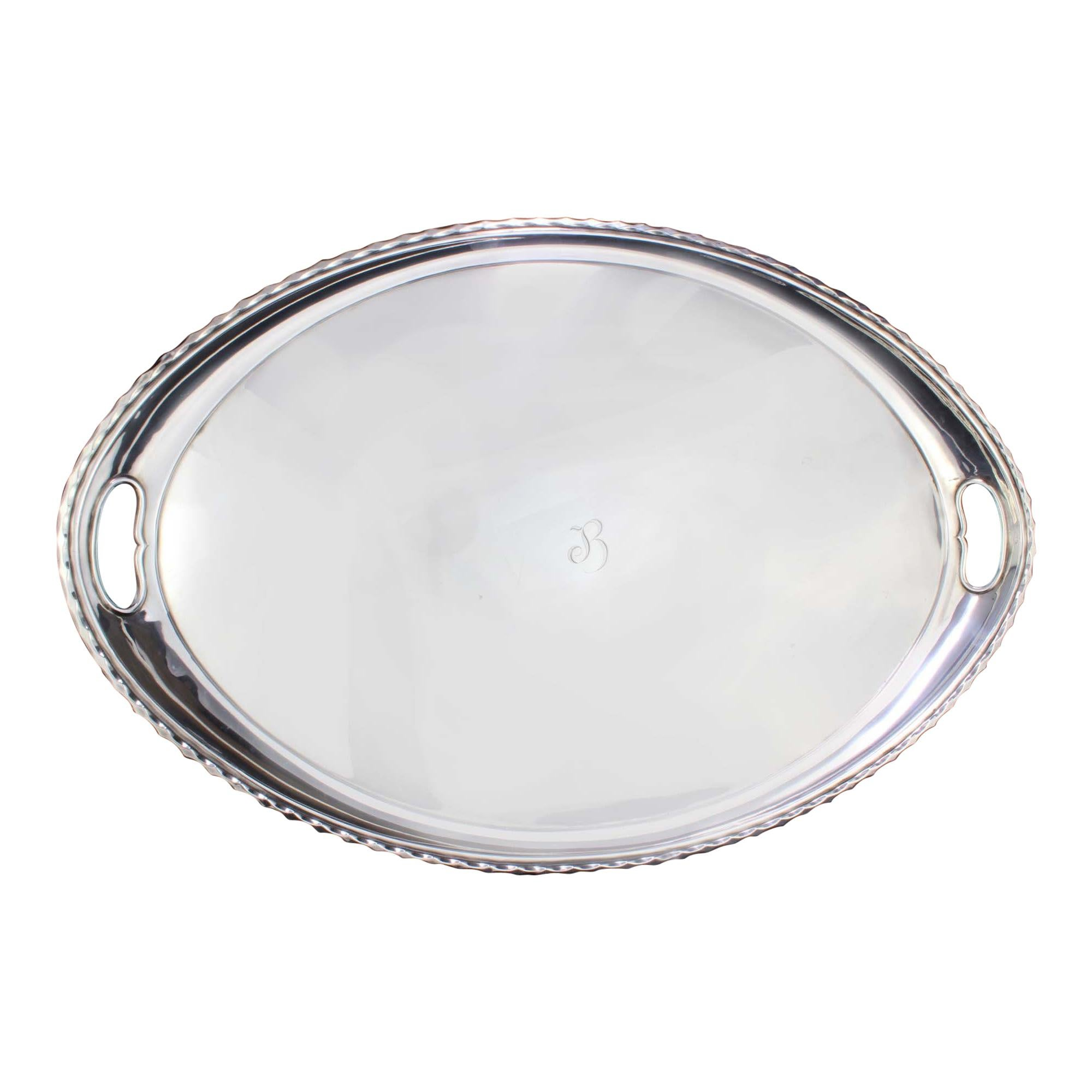 Antique Victorian Silver Plate Large Oval Serving Tray with Initial Letter B