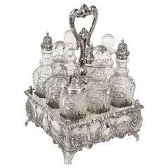 Antique Victorian Silver Plated 8 Bottle Cruet Set Walker & Hall, 19th Century