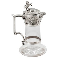 Antique Victorian Silver Plated and Cut Crystal Claret Jug Elkington & Co 19th C