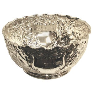 Antique Victorian Silver Plated Embossed Rose Bowl Dated circa 1890 Henry Atkins