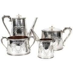 Antique Victorian Silver Plated Four Piece Tea & Coffee Set Elkington, 19th C