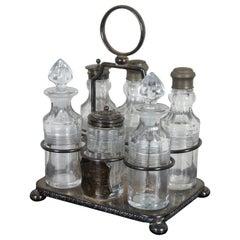 Antique Victorian Silver Plated Glass Cruet Condiment Set Monogrammed Caddy