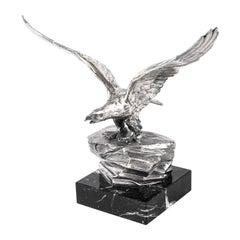 Antique Victorian Silver Plated Sculpture Bald Eagle Marble Base, 19th Century