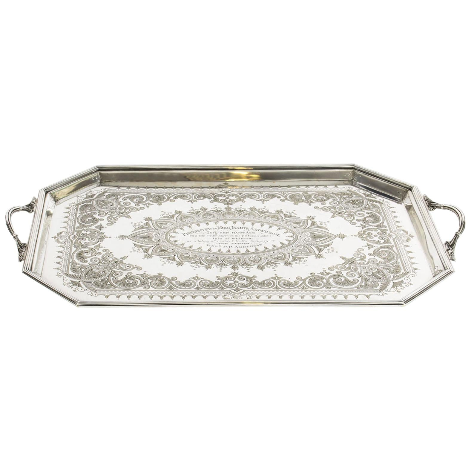 Antique Victorian Silver Plated Service Tray Thomas Latham, 19th Century