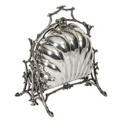 Antique Victorian Silver Plated Shell Biscuit Box, 19th Century