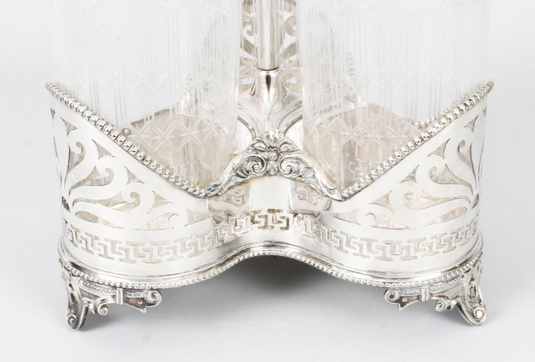 Antique Victorian Silver Plated Triple Decanter Stand Tantalus 19th Century For Sale 12