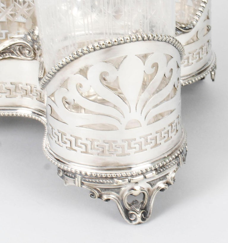 Antique Victorian Silver Plated Triple Decanter Stand Tantalus 19th Century For Sale 14