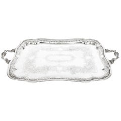 Antique Victorian Silver Plated Twin Handled Tray, 1880, 19th Century