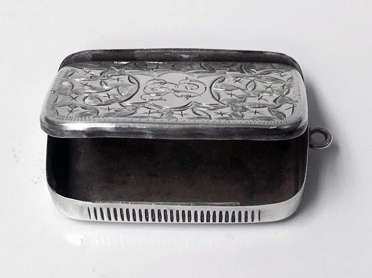 Antique Victorian Silver Puzzle Vesta Case, Birmingham 1898 Joseph Gloster In Good Condition For Sale In Toronto, Ontario