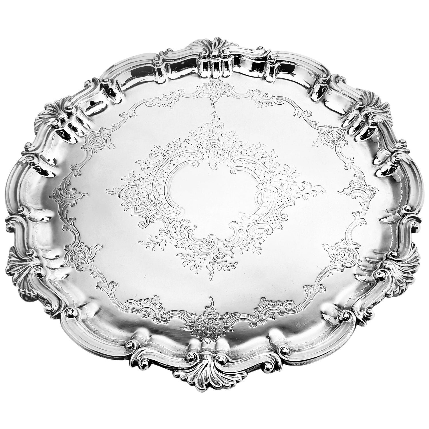 Antique Victorian Silver Salver, 1896
