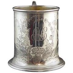 Antiker Viktorianische Silber Becher, Chinoiserie Gravur, Hallmarked London 1888