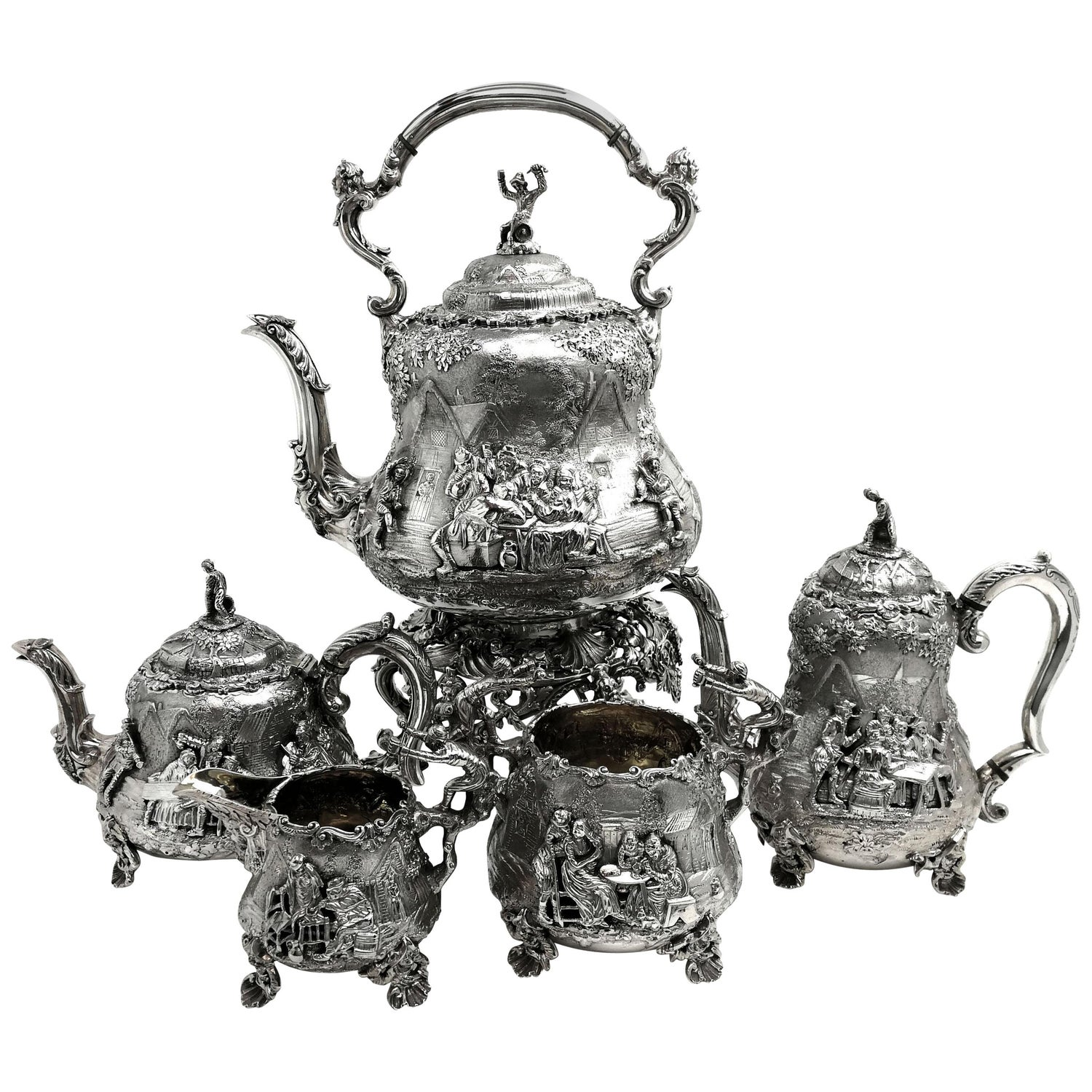 Victorian Silver Tea and Coffee 5-Piece Set London Tenier Style 1872 / 4 19th C