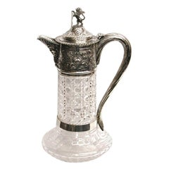 Antique Victorian Silver Topped Cut Glass Claret Jug, Dated 1878, Charles Boyton