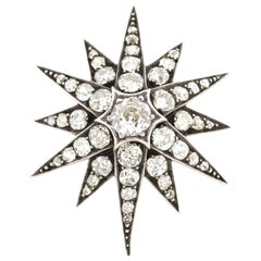 Antique Victorian Silver Topped Gold Diamond Starburst Pendant