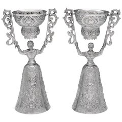 Antique Victorian Silver Wager Cups Modelled as a Lady & Gentleman in Costume