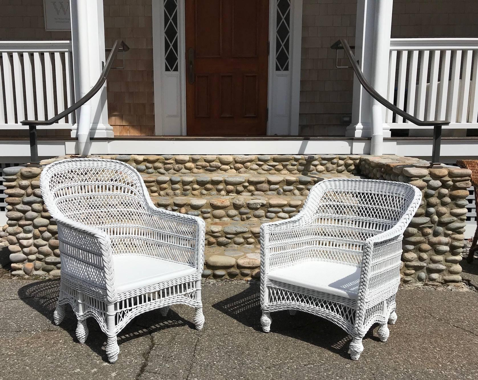 Antique Victorian Six Legged Wicker Chairs