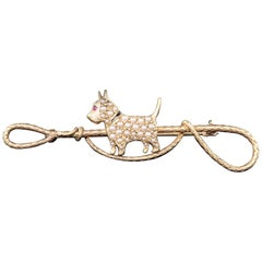 Antique Victorian Sloan & Co. 14 Karat Yellow Gold Seed Pearl Dog Brooch