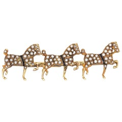 Antique Victorian Sloan & Co Three Horse Brooch Vintage 14k Gold Seed Pearls