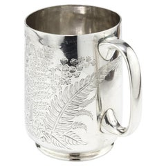 Antique Victorian Small Sterling Silver Mug with Floral & Leaf Engravings, 1884