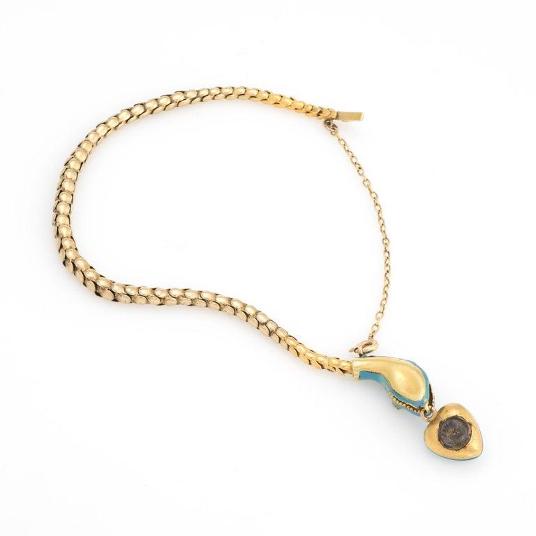 Antique Victorian Snake Bracelet 18 Karat Gold Blue Enamel Garnet Pearl Old In Good Condition For Sale In Torrance, CA